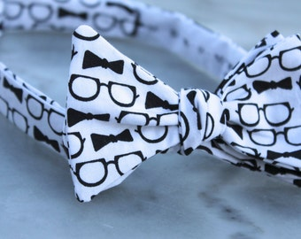 Men's Eyeglasses and Bow Tie Bowtie - clip on, pre-tied adjustable strap or Self tying - freestyle - Nerdy Professor Gift