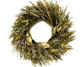"18"" Fragrant Preserved Front Door Wreath-Spring Wreath-Rustic Wreath-Easter Wreath-Lavendar Wreath-"