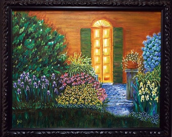 Original Oil Painting, Garden Door