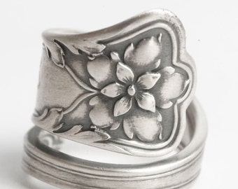 Floral Spoon Ring, Columbine Flower, Sterling Silver Spoon Ring, Gorham Silver, Antique Spoon Atlanta, Engraved R, Custom Ring Size (6071)