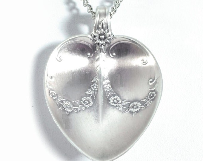 Heart Necklace, Dasiy Flower Necklace, Sterling Silver Spoon Jewelry, Floral Necklace, Flower Bow Pendant, Handmade Gift Set For Her (5828)