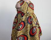 Orange, mustard and blue Ankara print baby dress