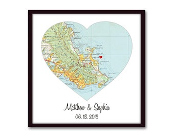 Heart Map Art, Wedding Gift, Personalized Anniversary Gift, Wedding Decor, Wedding Gifts for Couple, Unique Engagement, Housewarming Gift