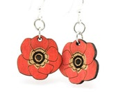 Poppy Flower Blossoms - Wood Earrings