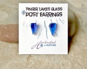 Blue Beach glass stud earrings, finger lakes gifts, finger lakes wedding, gifts for her, gifts for bridesmaids, gifts under 10, wife gift