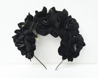 Velvet Black Rose Crown,  Black Flower Crown, Day of the Dead, Goth, Black Flower Headpiece,  Frida Kahlo, Floral Crown, Black Crown