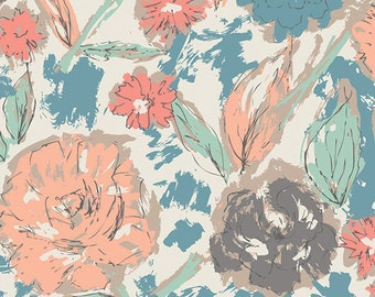 Tapestry Paper Flowers Parchment by Sharon Holland for Art Gallery Fabrics