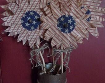 Gathering of Primitive Handmade Americana Sunflowers on Twigs