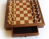 "RESERVED Hand Crafted Wooden Chess Set with 19"" X 19"" Wooden Chess Board with Drawers"