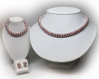 Sterling Silver 8 mm Freshwater Pink Pearl Necklace, Bracelet and Earring Set