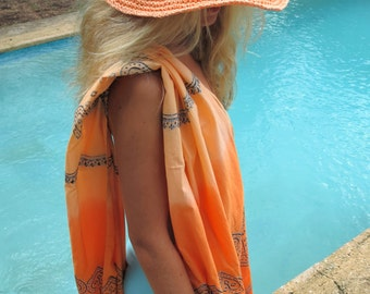 tie dye PAREO - block printed and crochet - absolutely boho-chic -
