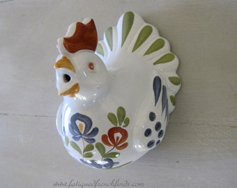Vintage French Handmade Pottery Chicken String Dispenser Cute Kitsch Container