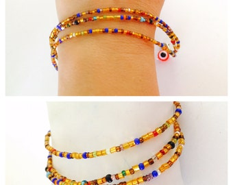 Layering Bracelet, triple row , beaded, gold beads, evil eye, Hand Made in The USA, Item No. De201