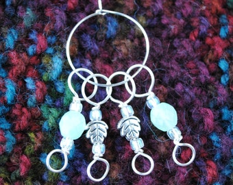Leaf Stitch Markers in Silver