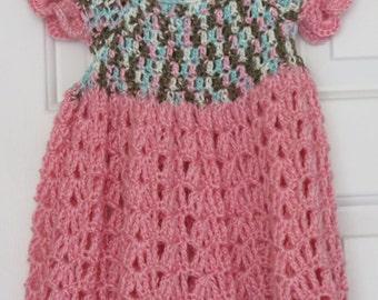 Crochet Pink/Multicolor Toddler Dress-2T