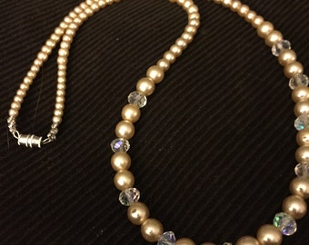 pearl necklace  with bling. bride
