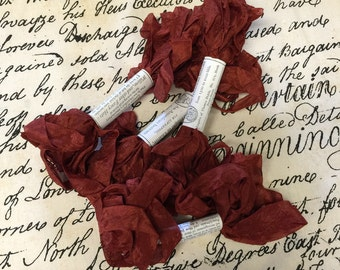 Distressed Aged Ribbon Scarlett 5yds - Wrapping - Gift Wrap - Craft Supply - Wrapping - Christmas - Bows