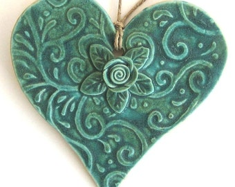 Ceramic Heart Ornament in Copper Patina with Rose, Vines and Leaves