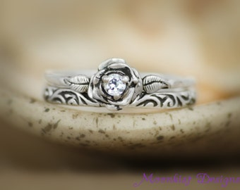 Delicate White Sapphire Rose Engagement Ring Set with Swirl Pattern Band in Sterling - Silver Floral Rose Diamond Alternative Wedding Set