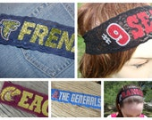 CUSTOM SCHOOL SPIRIT Sports College Stretch Lace Swarovski Crystals Headbands - Handmade - Let Us Design One For You