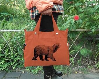 Summer Sale 10% off Orange canvas messenger bag / shoulder bag / laptop bag / brief case / diaper bag / tote bag / travael bag