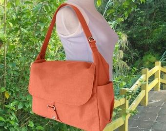 Summer Sale 10% off orange school bag, travel bag, crossbody bag, messenger bag, hand bag for men and women