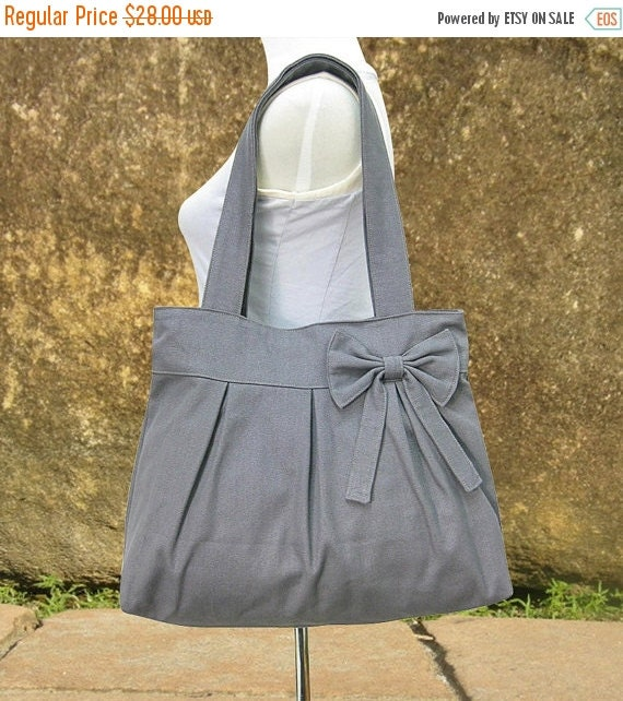 Holiday On Sale 10% off Gray canvas tote bag, fabric shoulder bag for women
