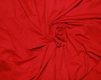 Red Cotton Lycra Solid Knit Fabric
