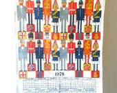 CLOSING DOWN SALE - 50% Off Vintage Irish Linen London England Souvenir 1978 Calendar Tea Towel