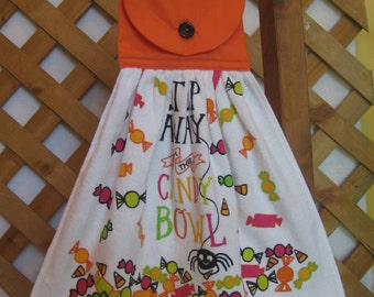 """Halloween Kitchen Tea Towel, """"Step Away from the Candy Bowl"""", Hanging Dish Towel, Saying Towel, Party Towel, Orange Black SnowNoseCrafts"""