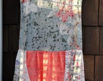 Peachy Gypsy Hippy Boho T Shirt Dress Tattered Mosaic Sz M - L