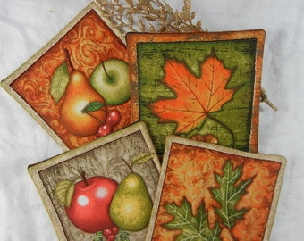 Quilted Cotton Fabric Coasters (4) Autumn Set #3
