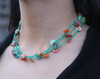 woven necklace // green orange // triple strand // multi strand // vintage buttons // hemp twine // eco gifts // gifts for her