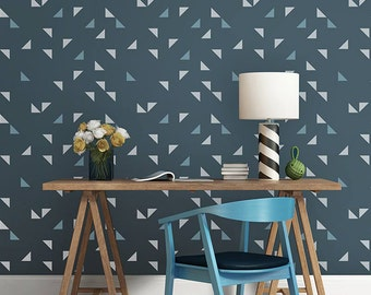 Aztec Tribal Triangles Wall Stencil - Easy DIY Allover Pattern Wallpaper Decor - Modern Geometric Painted Accent Wall