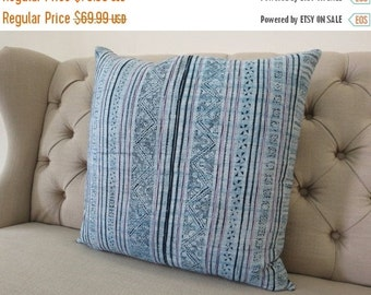 "ON SALE, Vintage 18""By18, Cushion covers Indigo batik Hmong Pillow case, Handwoven Hemp Fabric,"