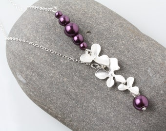 Plum wedding necklace, Plum Bridesmaid Necklace, plum Wedding Jewelry, Plum pearl Necklace, Bridal necklace, orchid necklace, orchid jewelry