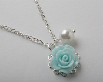 Flower girl necklace, blue rose rose necklace, flower girl jewelry, blue wedding jewelry, blue flower girl jewelry, Junior bridesmaid gift