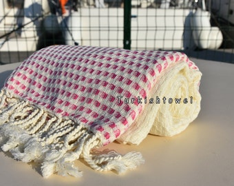 Turkishtowel-2016 Collection-HASIR-Hand woven,very soft,cotton and bambo,Bath,Beach,Travel,Wedding Towel-Hot Pink stripes on Natural Cream