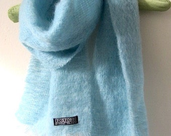 Vintage Mohair Scarf, mohair wool scarf, blue mohair scarf, Made in Ireland, boho mohair scarf, holiday Irish scarf, vintage Irish scarf