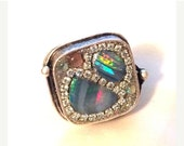 MERRY SALE Multi opal doublet and crystal ring