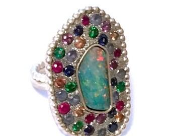 FALL SALE Australian opal and multi zircon sterling silver ooak ring