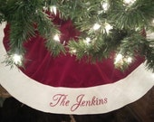 Personalized Christmas Tree Skirt. Traditional Red or Burgundy Velvet with Ivory or White Quilted Edge Christmas Tree Skirt. Free monogram.