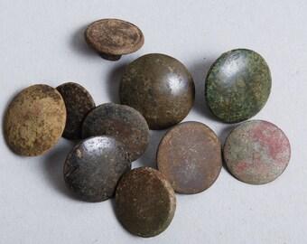 Set of 10 Antique metal buttons, original dark patina (4)