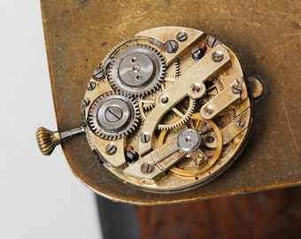 Antique watch movement, Swiss made mechanical watch part with porcelain dial