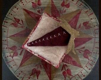handmade folk art trinket box with pinkeep and wool strawberry collectible decor by carol woodard of woodland primitives