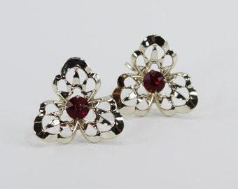 Vintage Goldtone Open Work Flower Pale Light Gold Tone Prong Set Faux Ruby Glass Rhinestone Screw On Earrings