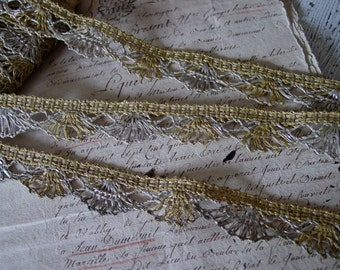 Simply GORGEOUS Old Antique French scalloped silver METALLIC LACE trim, half yard with more available