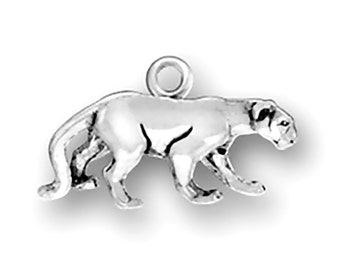 Sterling Silver Panther Cougar Cat Charm Pendant 3D