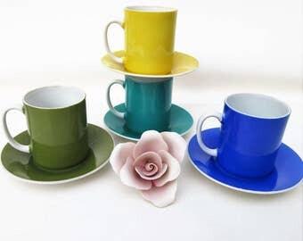 Vintage Demitasse Cups Saucers | Espresso Cup Sets | Tea Cups and Saucers Set | Set of 4