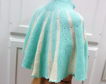 Vintage Turquoise Knit Shawl / Teal Crochet Cape / Small Striped Outerwear / Boho Poncho - Aqua White